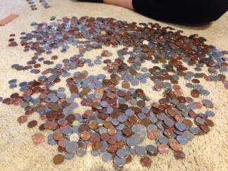 Several years worth of saved coins (minus some quarters).