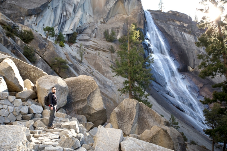 hiker-nevada-falls-yosemite-mist-trail